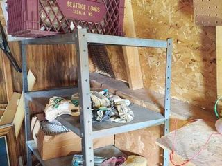 Metal Shelf and Contents and Other Remaining Items in Shed