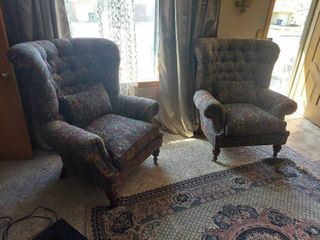 2 High Back Chairs with Pillows