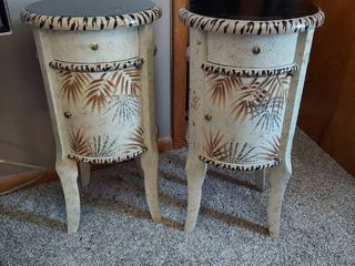 Pair of Decorator End Tables   1 Has Rough Finish on Top