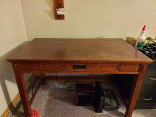 Mission Style Desk with Keyboard Drawer