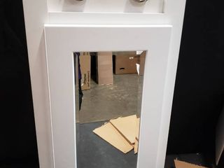 Triangular Vanity Cabinet With Mirror And lights White 30x16x8   No Bulbs