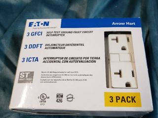 Duplex Receptacle Outlet 20 Amp Gfci 125v Self Test White 3 pack  Non Tamper