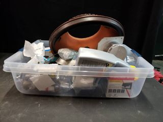 Box Of Fun  Various Incomplete Damaged Items  Electrical Supplies  Tubes  lights  Plumbing
