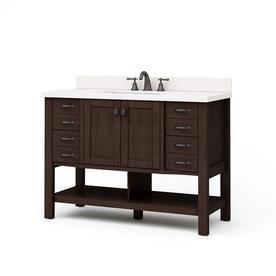 Allen   Roth Kingscote Espresso Undermount Single Sink Asian Hardwood Bathroom Vanity with Engineered Stone Top  Common  48 in x 20 in  Actual  48 in x 20 in