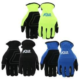 Blue Hawk 3 Pack large Mens Polyester leather Palm Work Gloves