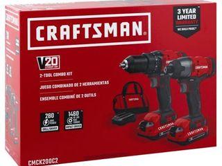 CRAFTSMAN V20 Cordless Drill Combo Kit  2 Tool