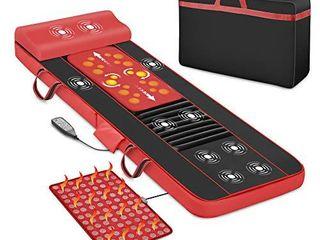 Shiatsu Massage Mats for Full Body Massage Mattress with Heat  Kneading Back Massager   Jade Heating Pad  10 Vibrating Motors Massage Mat for Bed Massage Pad for Neck Back Pain Relief