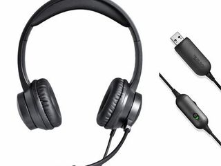 onn  USB Stereo Headset with Built in Microphone and In line Volume Control  6 ft cord