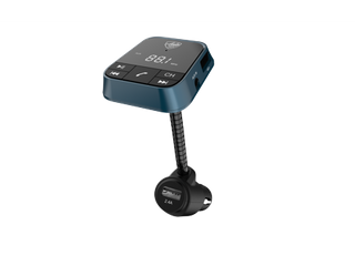 Auto Drive Gooseneck low Profile Bluetooth FM Transmitter  Hands free Phone Calls  Dual USB Charging Ports  lED Screen Display