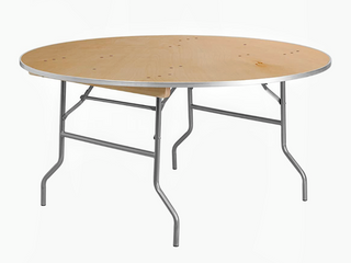 Flash Furniture 5 Foot Round   Heavy Duty Birchwood Folding Banquet Table w  Metal Edges