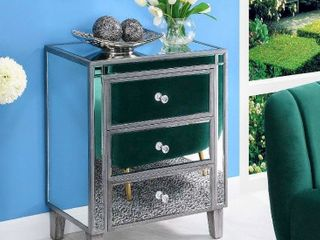 Convenience Concepts Gold Coast large 3 Drawer Mirrored End Table   Metallic Finish