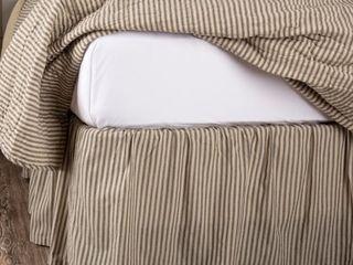 Dark Creme Charcoal White Farmhouse Bedding Miller Farm Ticking Stripe Cotton Split Corners Gathered Striped Queen Bed Skirt