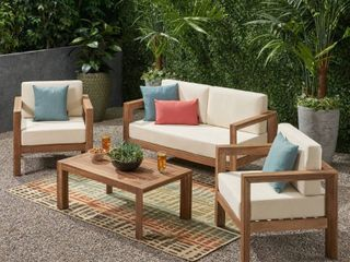 Genser Outdoor 4 piece Acacia Chat Set by Christopher Knight Home  Retail 1049 99  Couch And Table Only