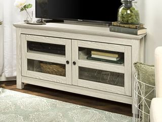 Walker Edison Wood Corner TV Stand for TVs up to 48    White Wash