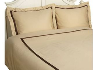 Superior Hotel Collection 300 Thread Count Cotton Sateen 3 Piece Full Queen Size Duvet Cover Set in Honey Mocha