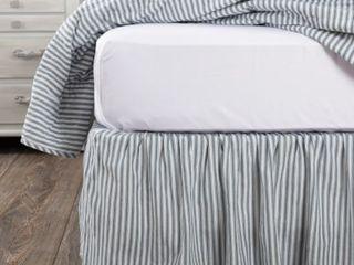Denim Blue Soft White King Sawyer Mill Ticking Stripe Bed Skirt