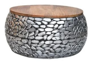 Iron Stone Coffee Table with Wooden Top Silver Antique  Retail 437 99