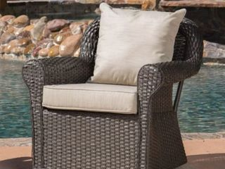 Amaya Outdoor Wicker Swivel Rocking Chair with Cushion  1 Chair Only  by Christopher Knight Home  Retail 1866 64