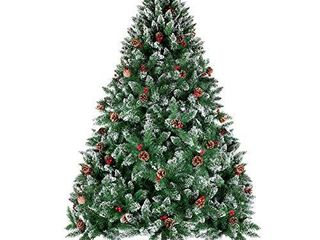 WBHome 6 Feet Snow Flocked Premium Spruce Hinged Artificial Christmas Tree  800 Branch Tips with Pine Cones  Unlit