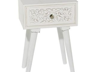 White Wood Bedside Table with Carved Acanthus Accents 16  x 23 5    16 x 13 x 24  Retail 85 49
