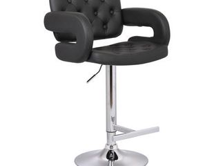 Null  Modern Black Adjustable Swivel Tufted Upholstered Barstool  Retail 98 49