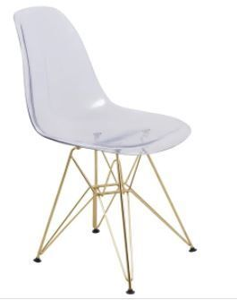 leisureMod Cresco Clear Eiffel Gold Base Dining Side Chair  Set of 2