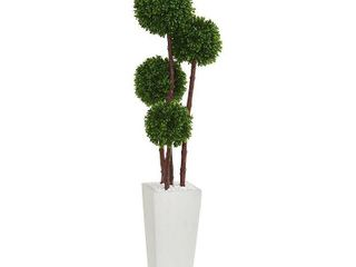 4  Boxwood Artificial Topiary Tree in Planter UV Resistant  Indoor Outdoor  Retail 104 49