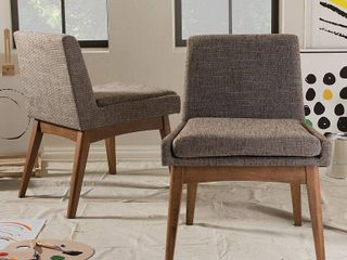 Nexus Mid   Century Modern Wood Finishing and Fabric Upholstered Dining Side Chair  Set of 2