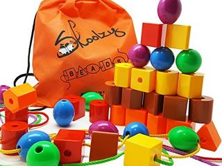 Skoolzy lacing Beads for Kids Toddler Toy   JUMBO Primary lacing Toys For Toddlers   Autism Fine Motor Skills Montessori Toys   36 String Beads  4 Strings  Travel Bag  Preschool Activities eBook Set