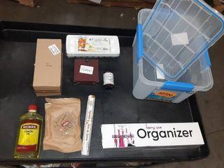 Miscellaneous storage tote  Furniture polish  incense and more