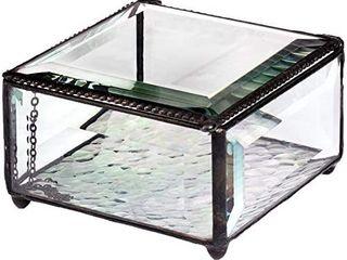 J Devlin Box 829 Beveled Glass Keepsake Jewelry Box 4  X 4  X 2
