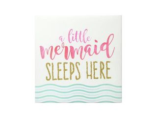 A little Mermaid Sleeps Here Wrapped Canvas With Glitter