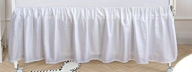 PHF Crib Bed Skirt 100  Cotton Pack of 2 White Dust Ruffle Nursery Crib Bedding for Baby 17  Drop
