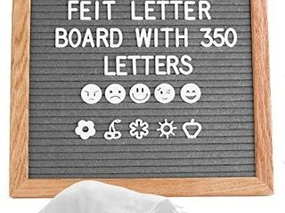 10x10  Grey Felt letter Board with 350 Changeable letters and Stand  Oak Frame Message Board Announcement Board for Home Decoration  Office  Farmhouse
