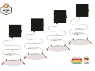 Commercial Electric Ultra Slim 4 in  Color Selectable New Construction and Remodel Canless Recessed Integrated lED Kit  4 Pack