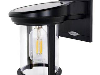 GAMA SONIC Solar Coach lantern 1 light Black Solar Outdoor Wall lantern Sconce with Warm White Edison Bulb