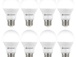 EcoSmart 60 Watt Equivalent A19 Non Dimmable lED light Bulb Daylight  8 Pack
