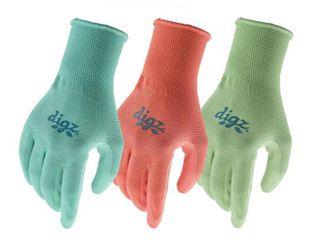 Digz Women s Medium large Nitrile Coated Gloves  3 Pair  Greens  Blues