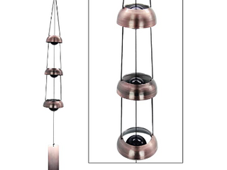Red Copper Wind Chimes with 3 Bells Temple Wind Chime for Home