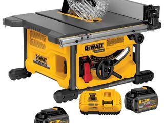 DEWAlT FlEXVOlT 60 Volt MAX Cordless Brushless 8 1 4 in  Table Saw Kit with  2  FlEXVOlT 6 0Ah Batteries   RETAIlS 499