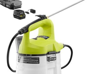 MISSING 1 3 Ah Battery and Charger  and Wand   Ryobi ONE  18 Volt lithium Ion Cordless Chemical Sprayer 1 Gal  RETAIlS 79 97 SOlD AS IS