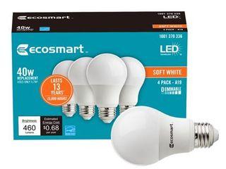 EcoSmart 40 Watt Equivalent A19 Dimmable Energy Star lED light Bulb Soft White  4 Pack