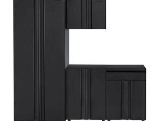 Husky Regular Duty Welded 78 in  W x 75 in  H x 19 in  D Steel Garage Cabinet Set in Black  4 pc  matte black power coating Retail  629 99