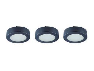 Commercial Electric 3 light lED Black AC Puck light Kit  White