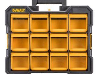 DeWalt 17 2 in  l x 4 2 in  W x 13 5 in  H Flip Bin Storage Organizer Plastic 12 pocket Yellow