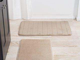 lavish Home 67 16 T 2 Piece Memory Foam Striped Bath Mat  Taupe