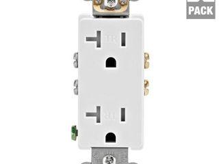 leviton M02 T5825 WMP 20A 125V White DecoraAr Tamper Resistant Outlets 10 Count   RETAIlS 45 99