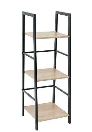 C Hopetree ladder Shelf Bookcase   3 Tier Corner Display Bookshelf   Black Metal Frame