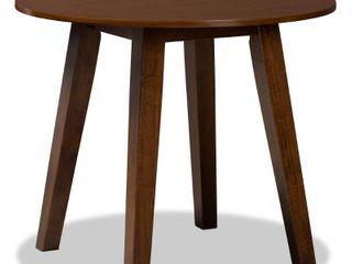 35  Ela Wide Round Wood Dining Table Walnut   Baxton Studio