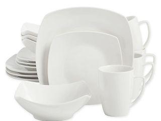 Salt Soft Square 16 piece Dinnerware Set   White  MISSING A SAlAD PlATE